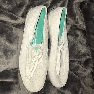 Women's white Keds with daisy design